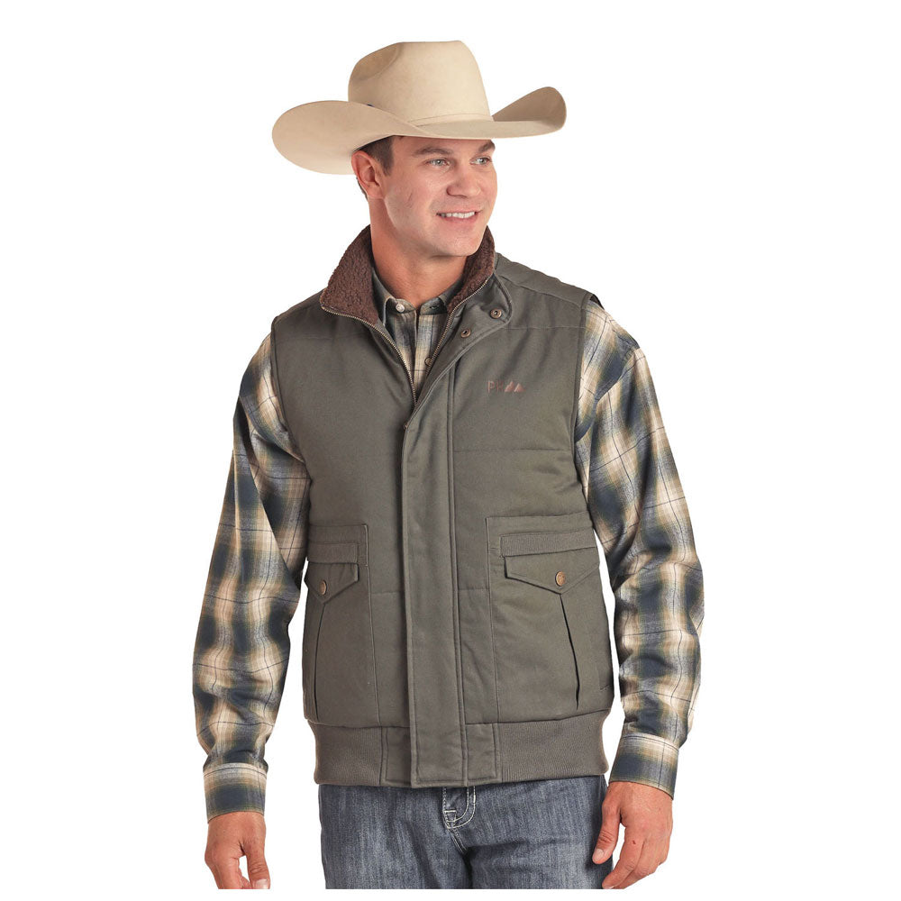 98B6675 Powder River Men's Concealed Carry Quilted Vest Grey