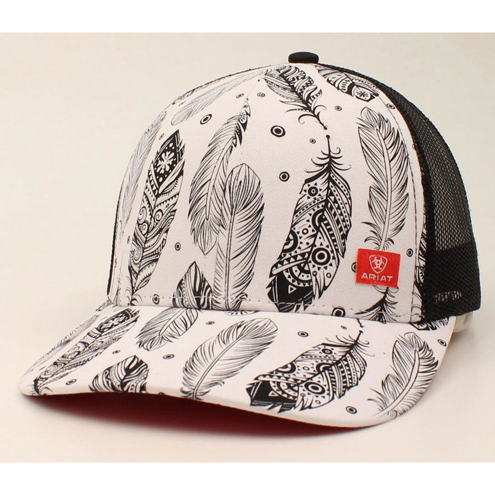 A300006905 Ariat Ladies Feather Print Snapback Cap Black & White