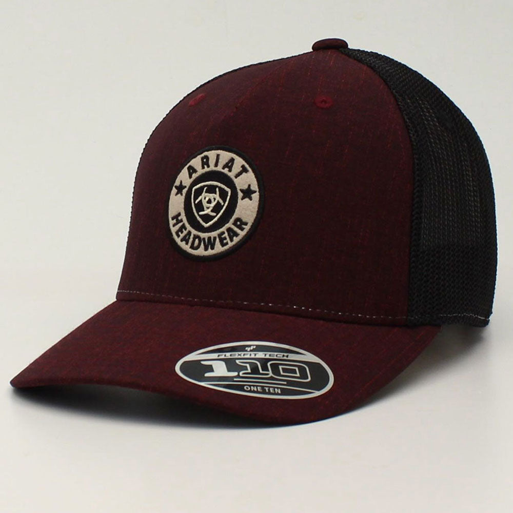 A300012855 Ariat Men's Wine Snap Back FlexFit 110 Logo Cap