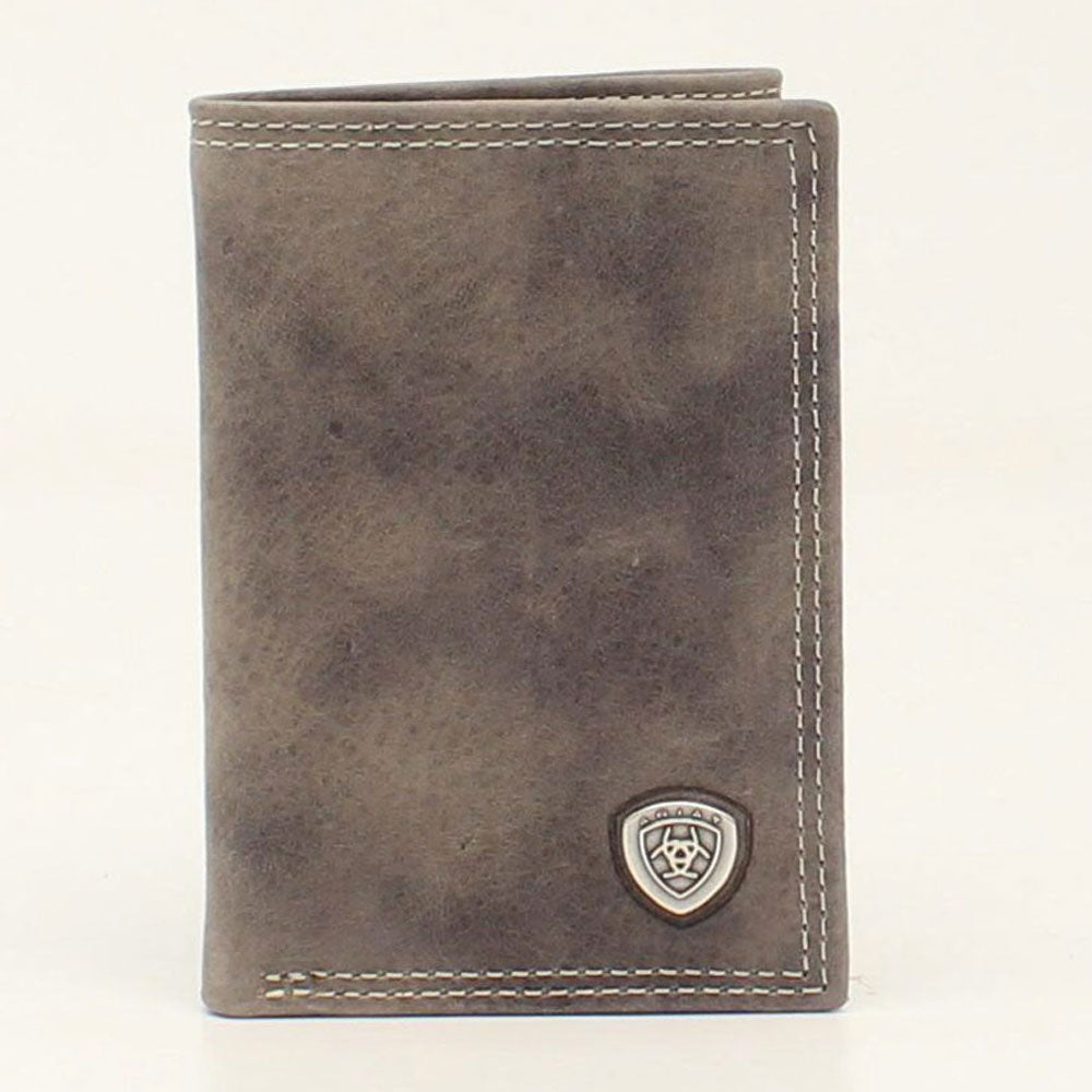 A3544906 Ariat Trifold Shield Concho Wallet Grey