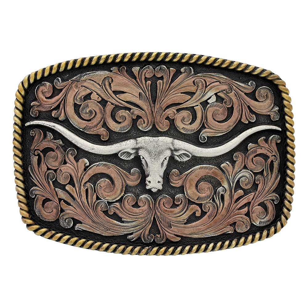 A711 Montana Silversmiths Tri-Colored Texas Longhorn Attitude Buckle