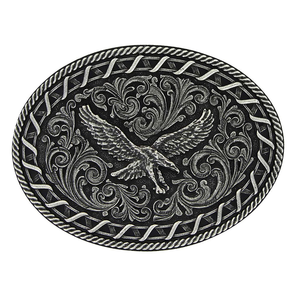 A730  Montana Silversmiths Antiqued Buck Stitch Oval Soaring Eagle Attitude Buckle