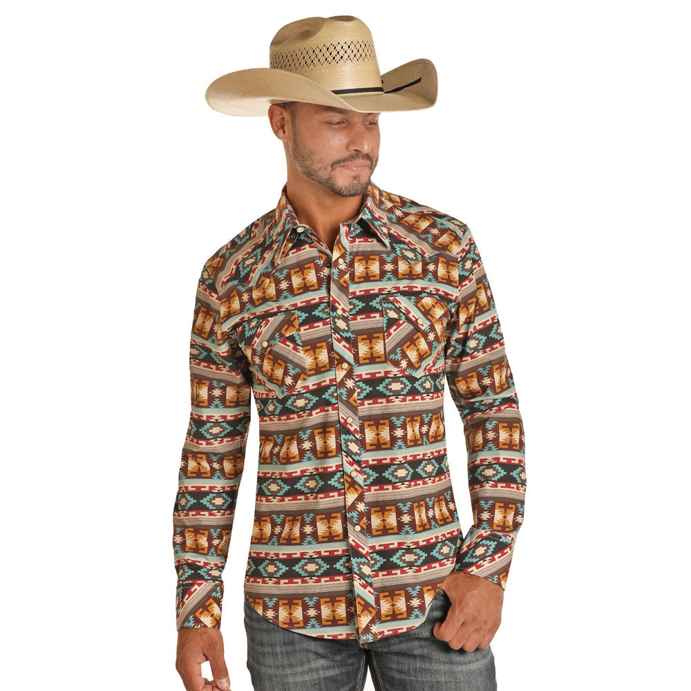 B2S7079 Rock & Roll Denim Dale Brisby Men's Aztec Striped L/Sleeve Western Snap Shirt