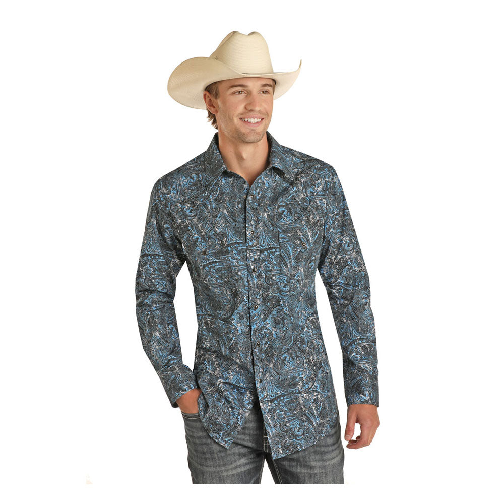 B2S9409 Rock & Roll Cowboy Men's Blue & Black Paisley Long Sleeve Western Shirt