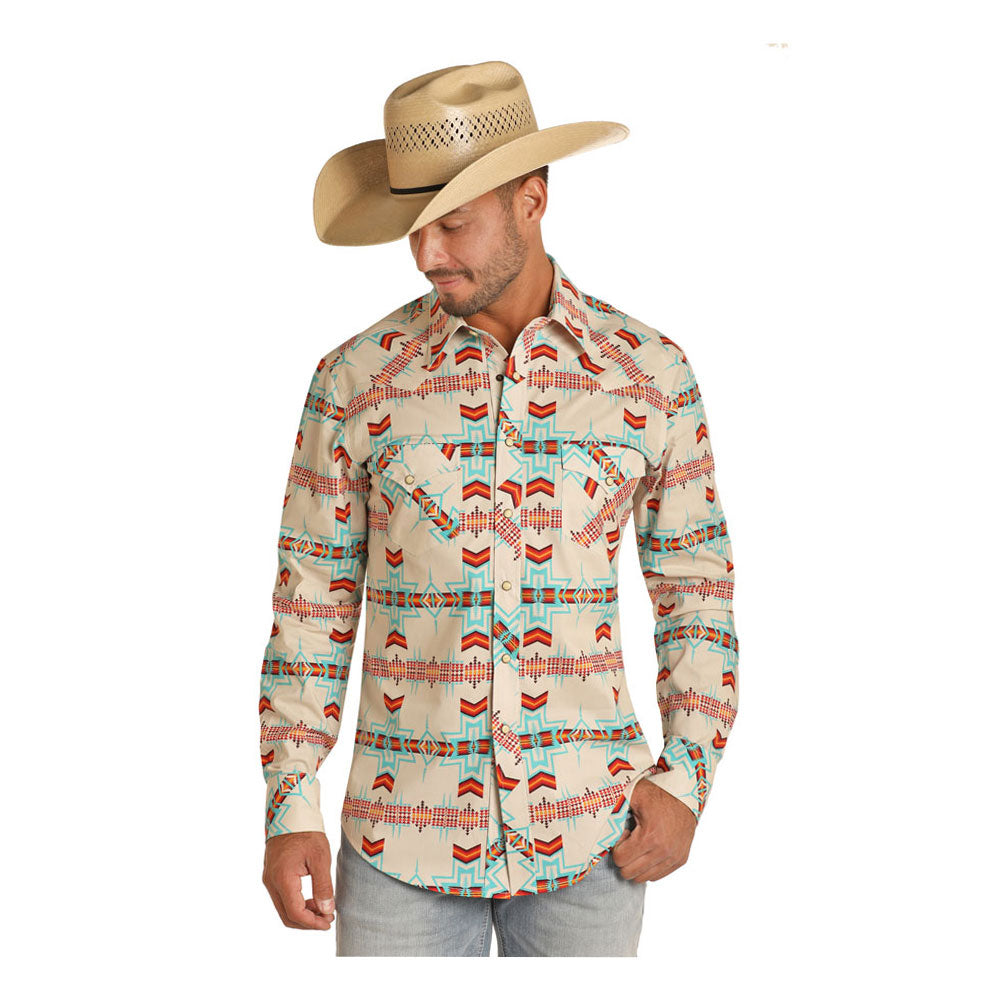 B2S9415 Rock & Roll Cowboy Men's Aztec Print Long Sleeve Western Snap Shirt