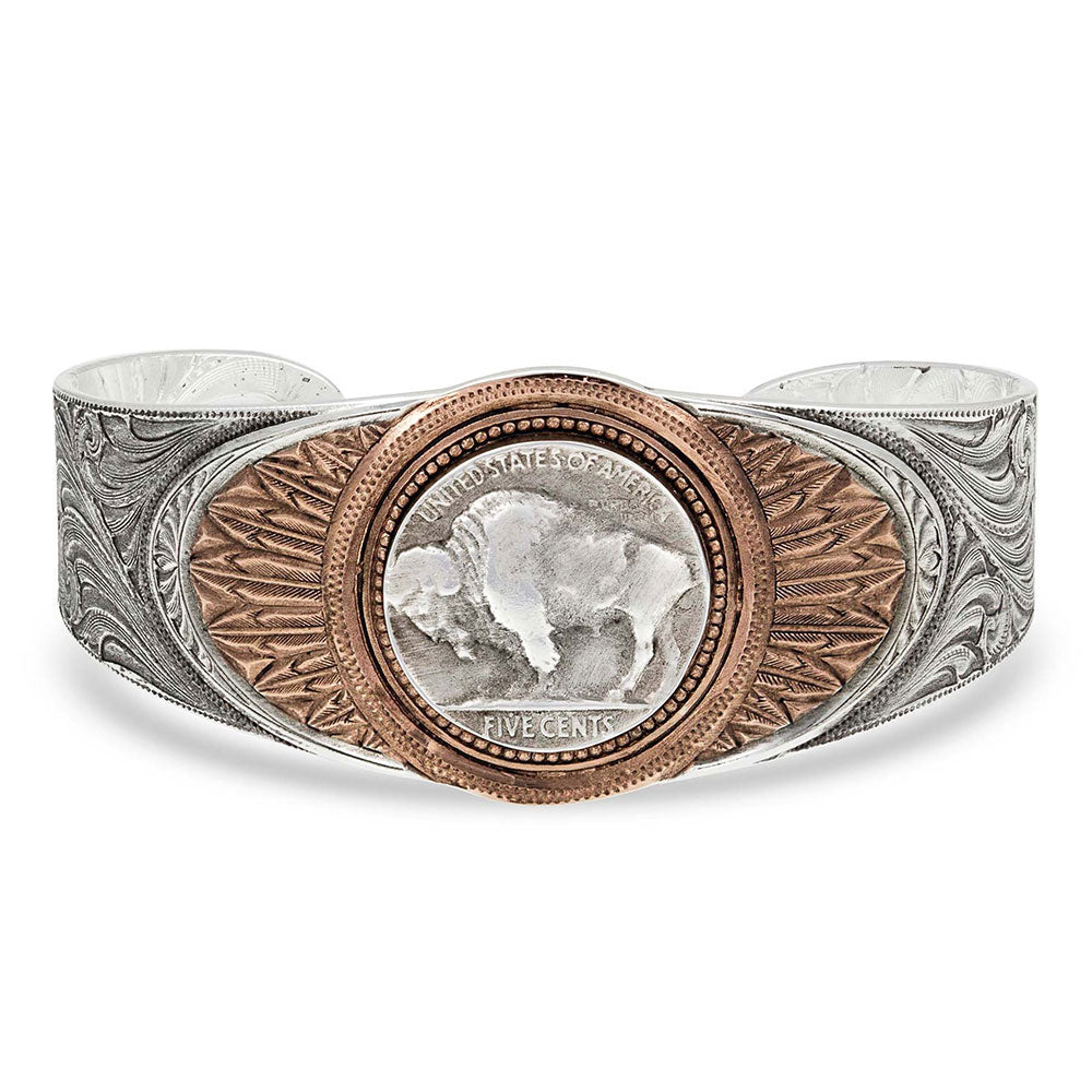 BC1109RG Montana Silversmiths Buffalo Feather Cuff Bracelet