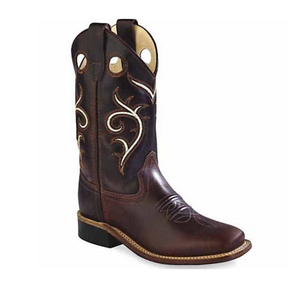 BSC1807 Old West Kids' Brown Swirl Western Cowboy Boots
