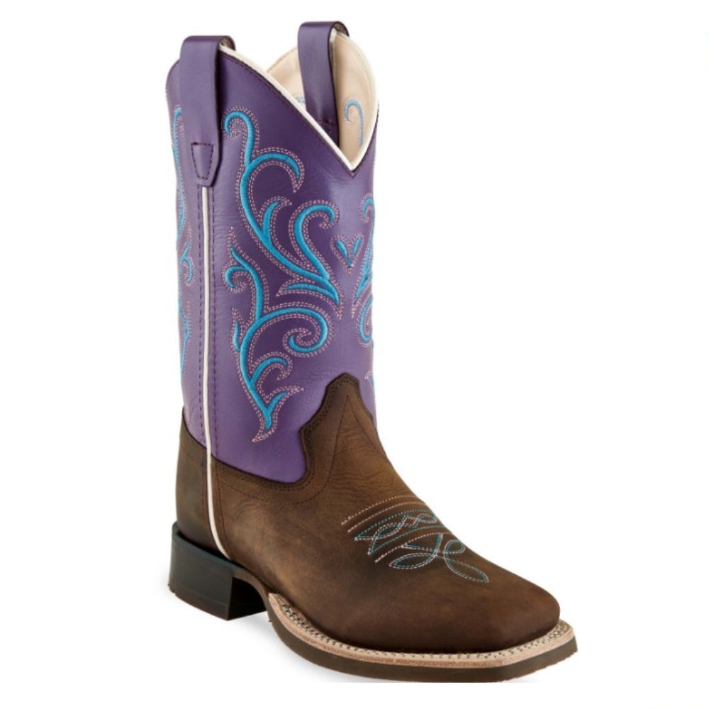 BSC1907 Old West Girl's Square Toe Leather Western Boot