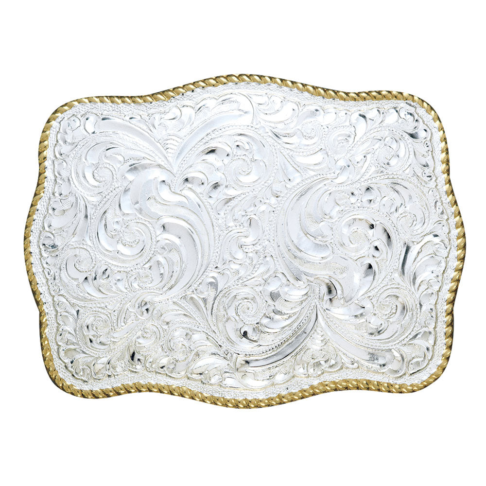 C00449 M&F Crumrine Buckle Scroll Design Western Belt Buckle