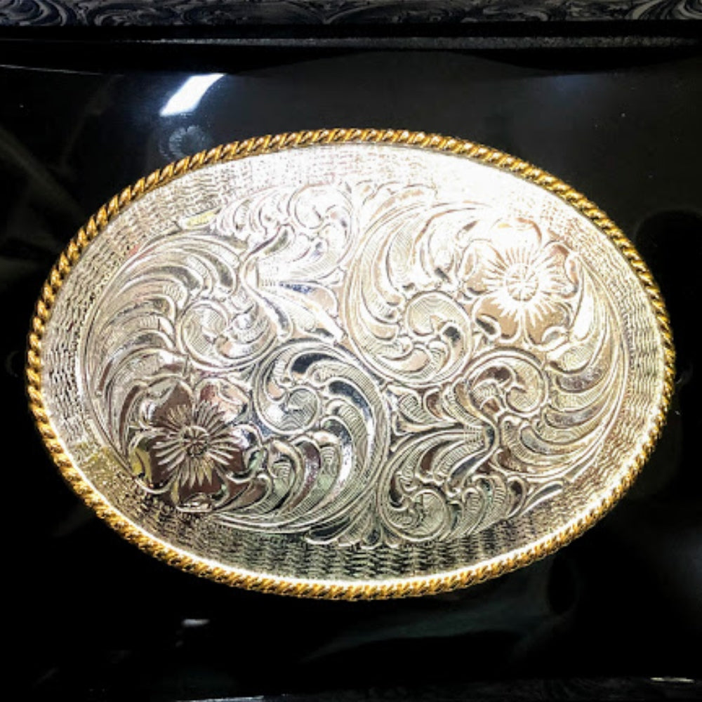 C10365 Crumrine Oval Floral Engraved Western Belt Buckle