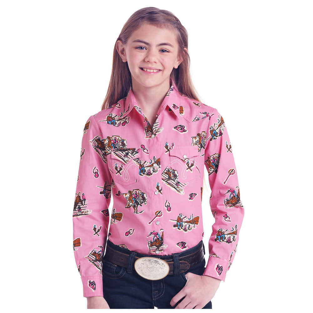 C6S6478 Panhandle Girls Pink Rodeo Print Long Sleeve Western Snap Shirt