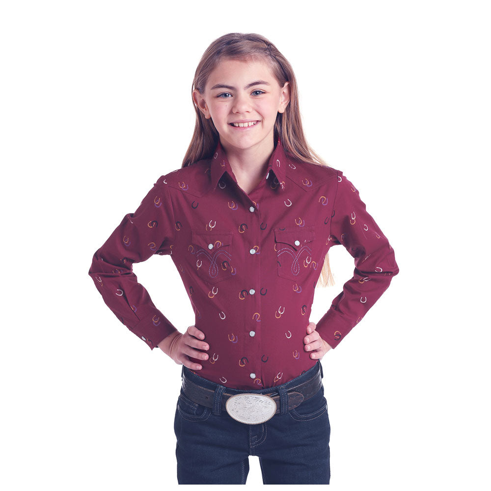 C6S6811 Panhandle Girls Burgundy Horseshoe Print Long Sleeve Western Snap Shirt