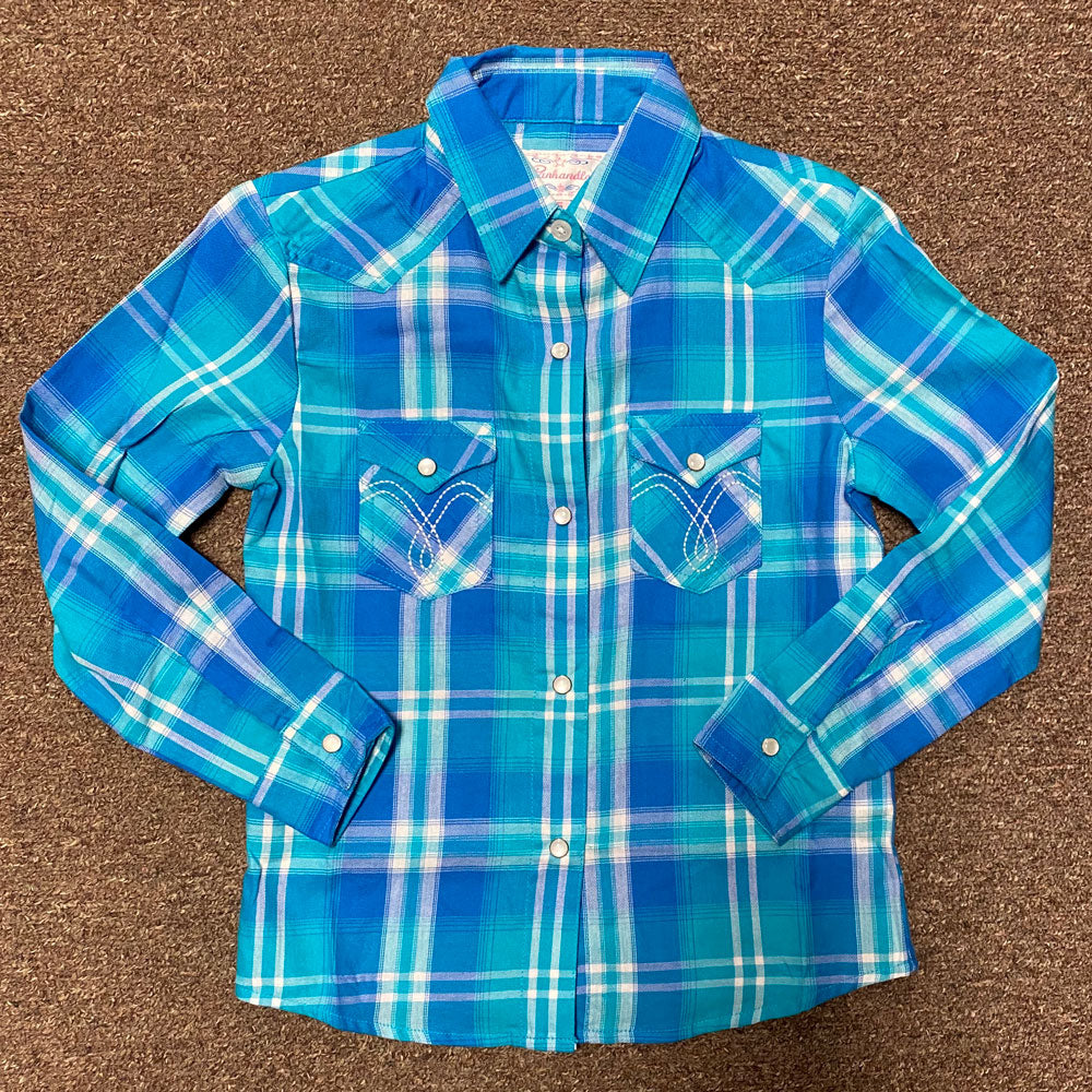 C6S8566 Panhandle Girls Long Sleeve Turquoise Plaid Western Snap Shirt