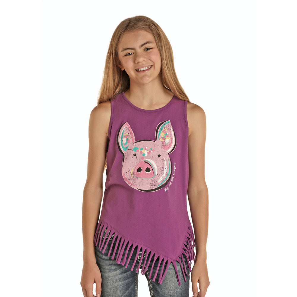 G1-8125 Rock & Roll Cowgirl Girls Pig Graphic Tank Top Purple