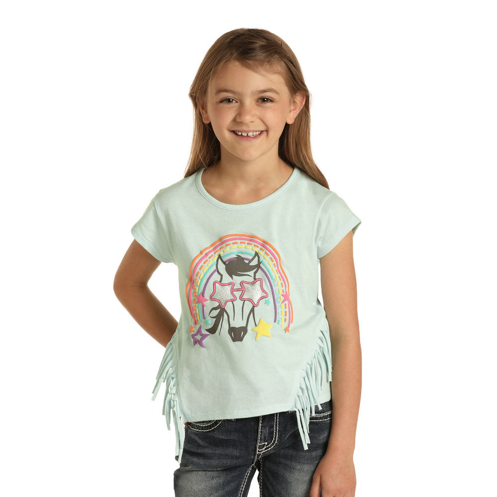 G3T8127 Roc & Roll Cowgirl Short Sleeve Mint Tee Rainbow & Horse Graphics