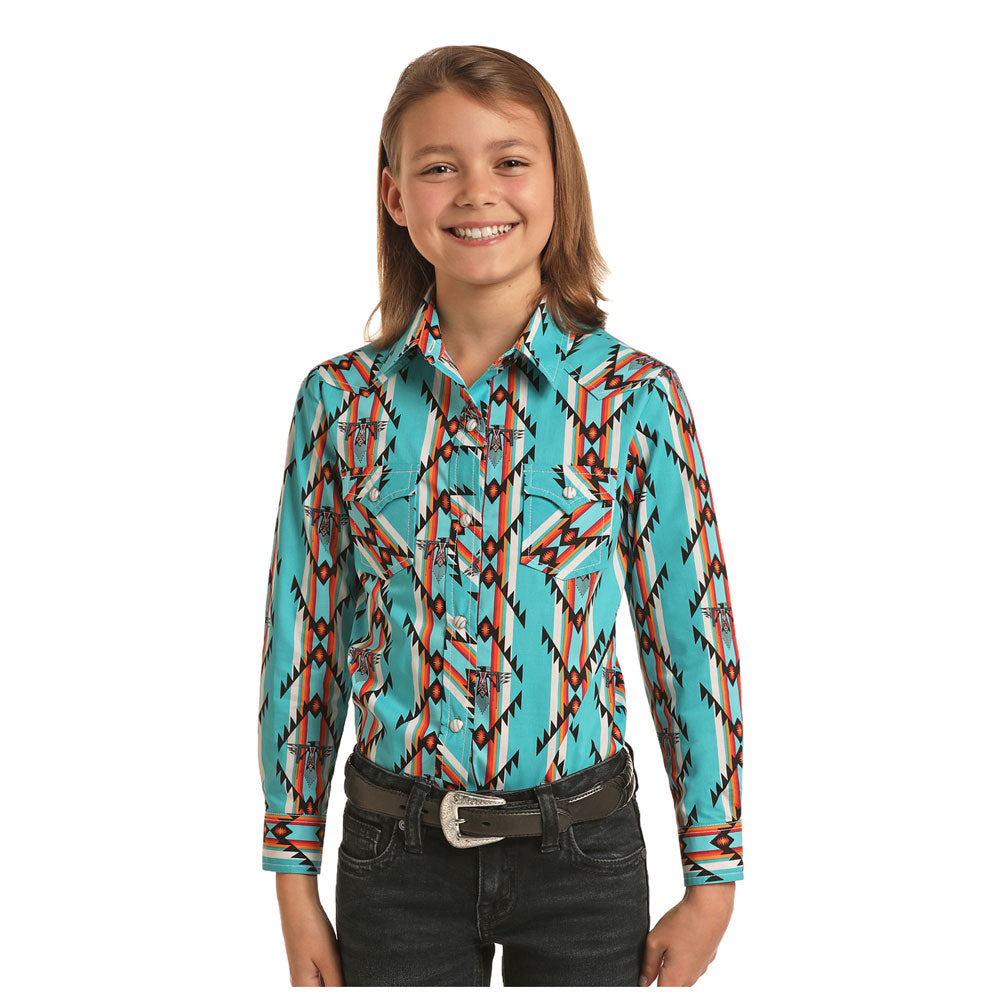 G4S6716 Rock & Roll Cowgirl Girls Turquoise Aztec Print Long Sleeve Western Snap Shirt