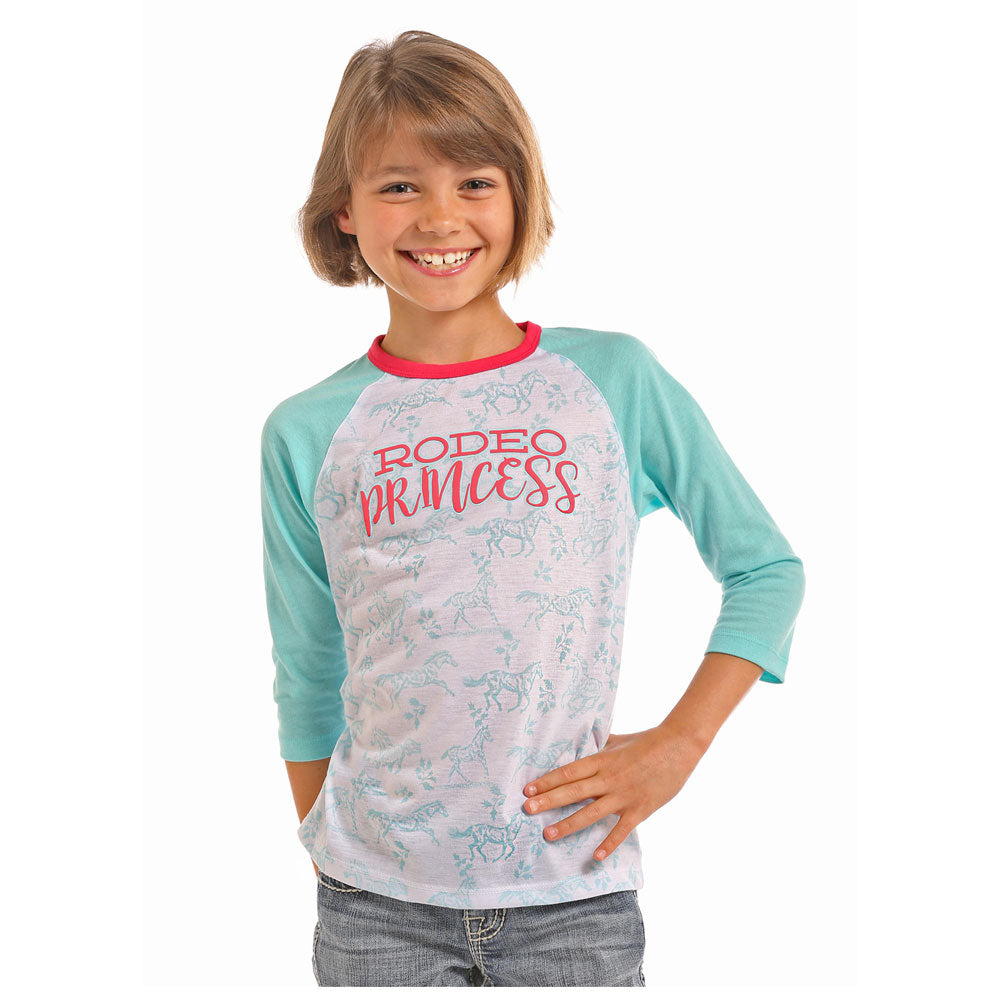 G4T5054 Rock And Roll Cowgirl Girl's Rodeo Princess Baseball Tee