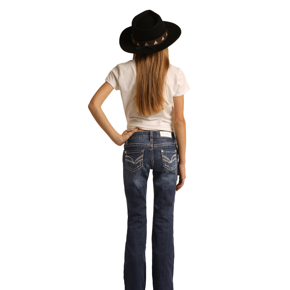 G5-6143 Rock & Roll Cowgirl GIrls' Bootcut Dark Wash Jeans