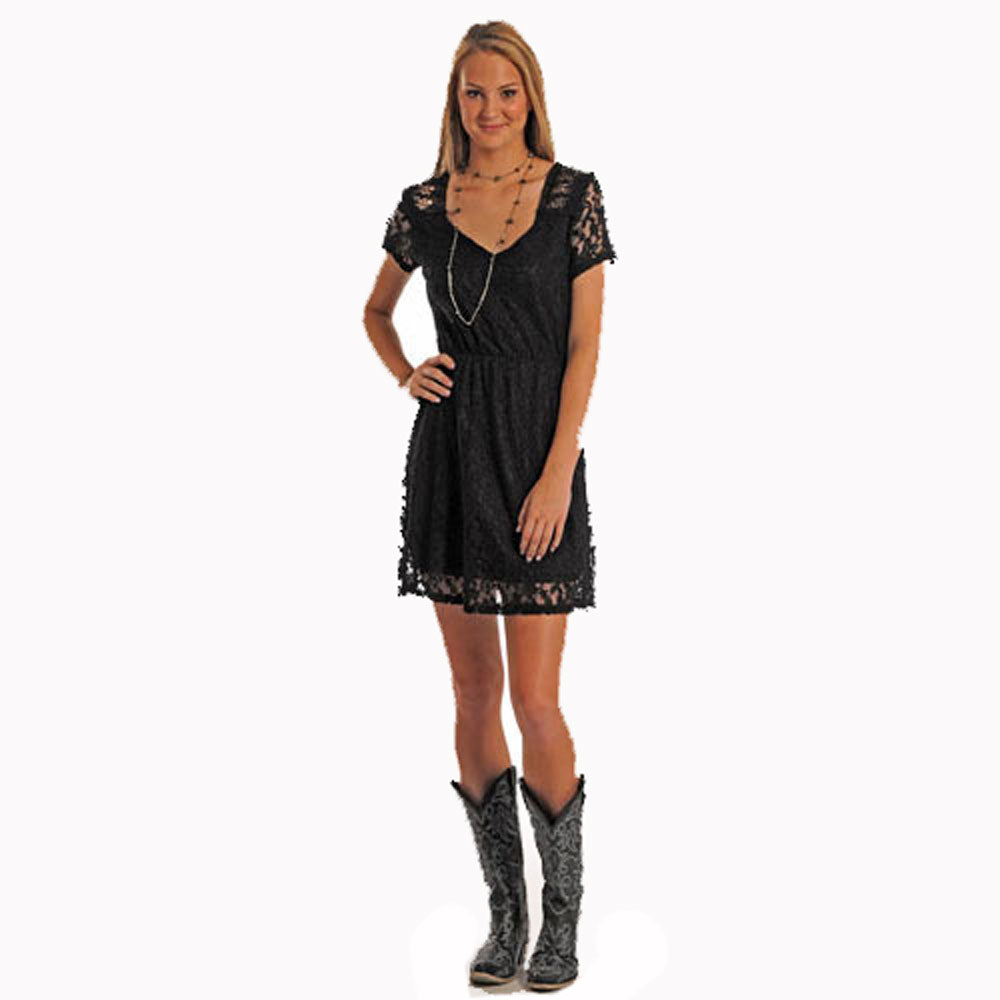 J0-6675 Panhandle Slim Juniors Cap Sleeve Lace Dress - Black