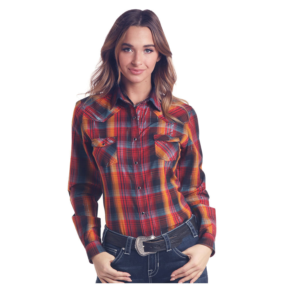 J2S6787 Panhandle Juniors Red and Orange Plaid Western Snap Shirt