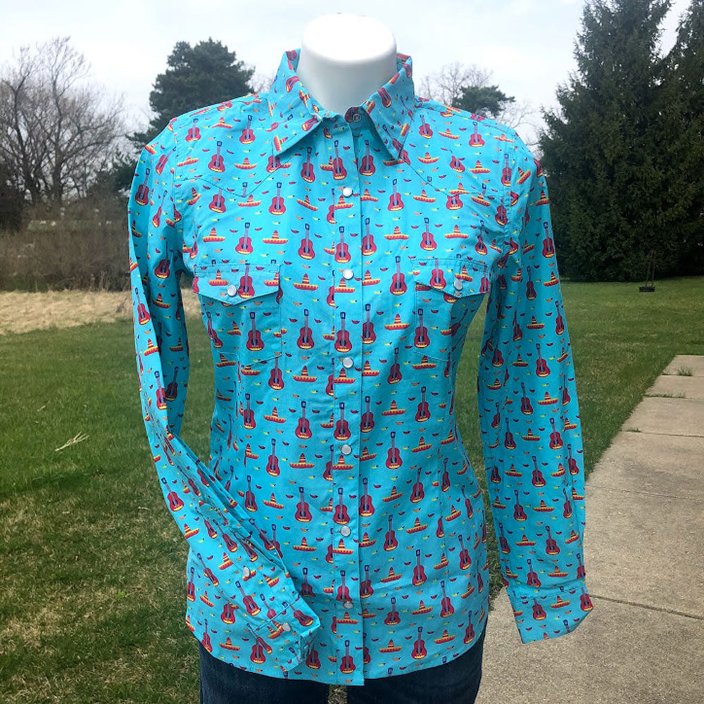 J2S8630 Panhandle Junior's Long Sleeve Turquoise Guitar Print Western Snap  Shirt