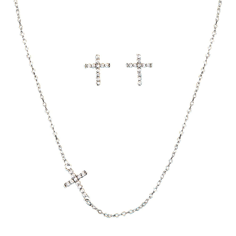 JS1510 Montana Silversmiths Quiet Faith Tiny Crystal Cross Jewelry Set
