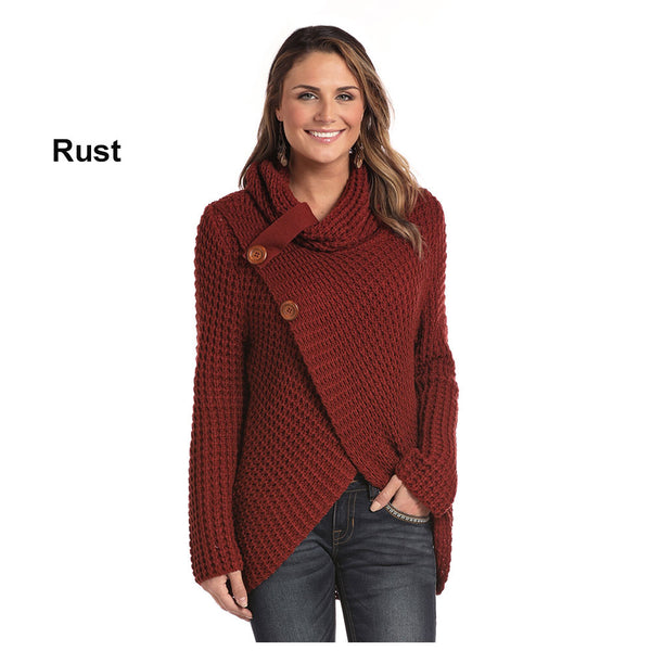 L8T3670 Panhandle Ladies Crossover Cowl Sweater Long Sleeve