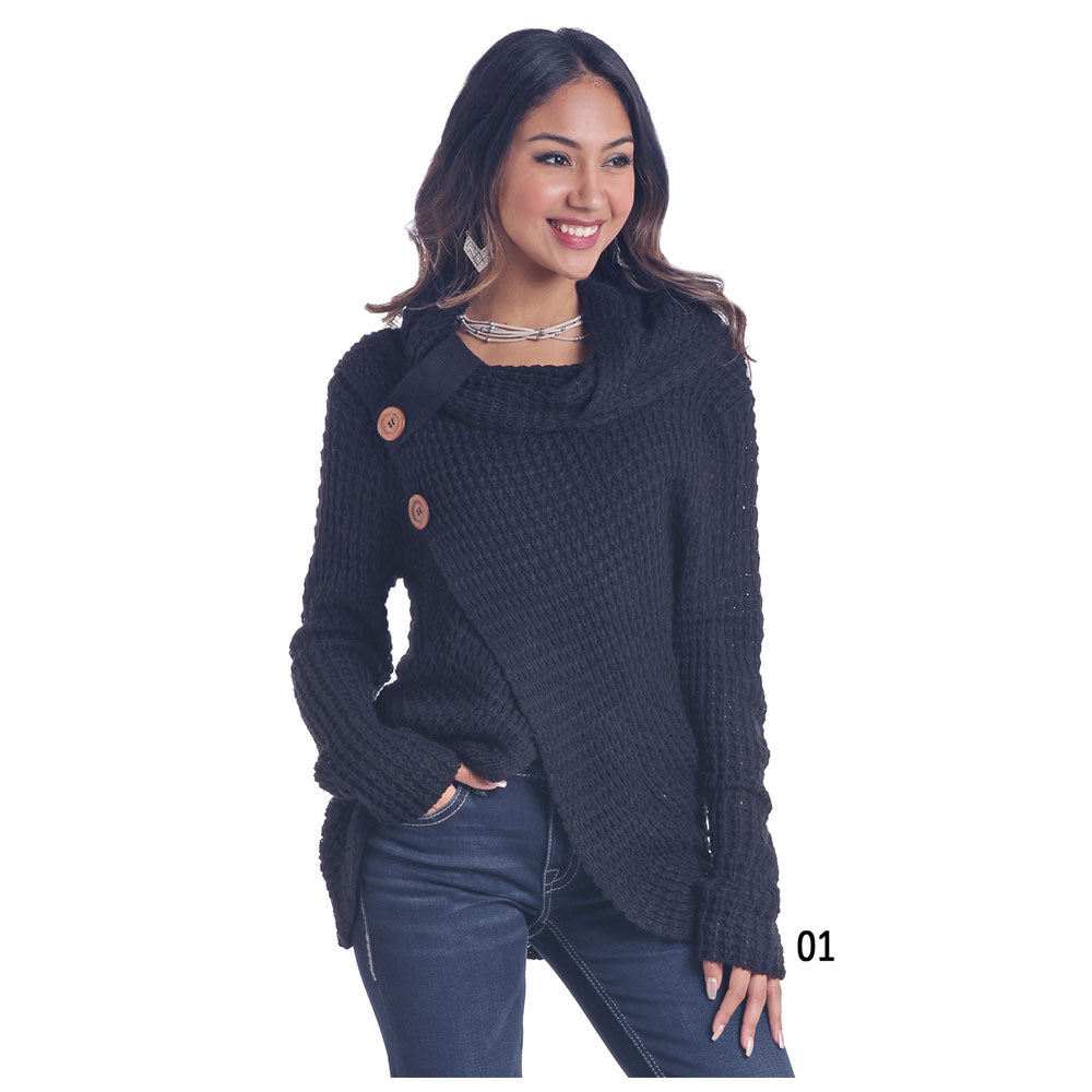 L8T6410 Panhandle Ladies Black Waffle Knit Cowl Neck Sweater