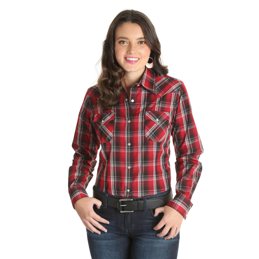 LW3179M Wrangler Women's Black & Red Plaid Long Sleeve Western Snap Shirt