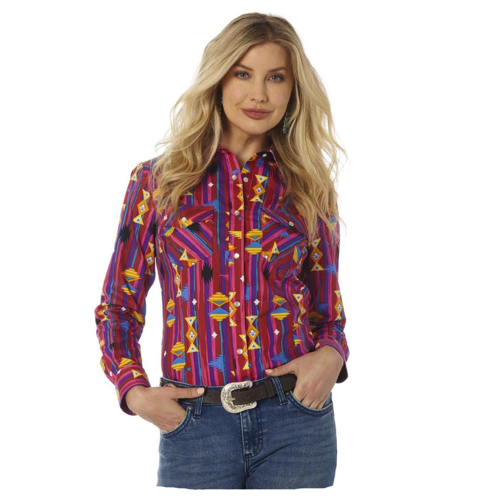 LW7506M Wrangler Retro Women's Pink and Purple Aztec Print Long Sleeve Western Shirt