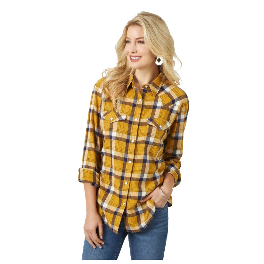 LW7512M Wrangler Women's Retro Yellow Plaid Boyfriend Flannel Shirt