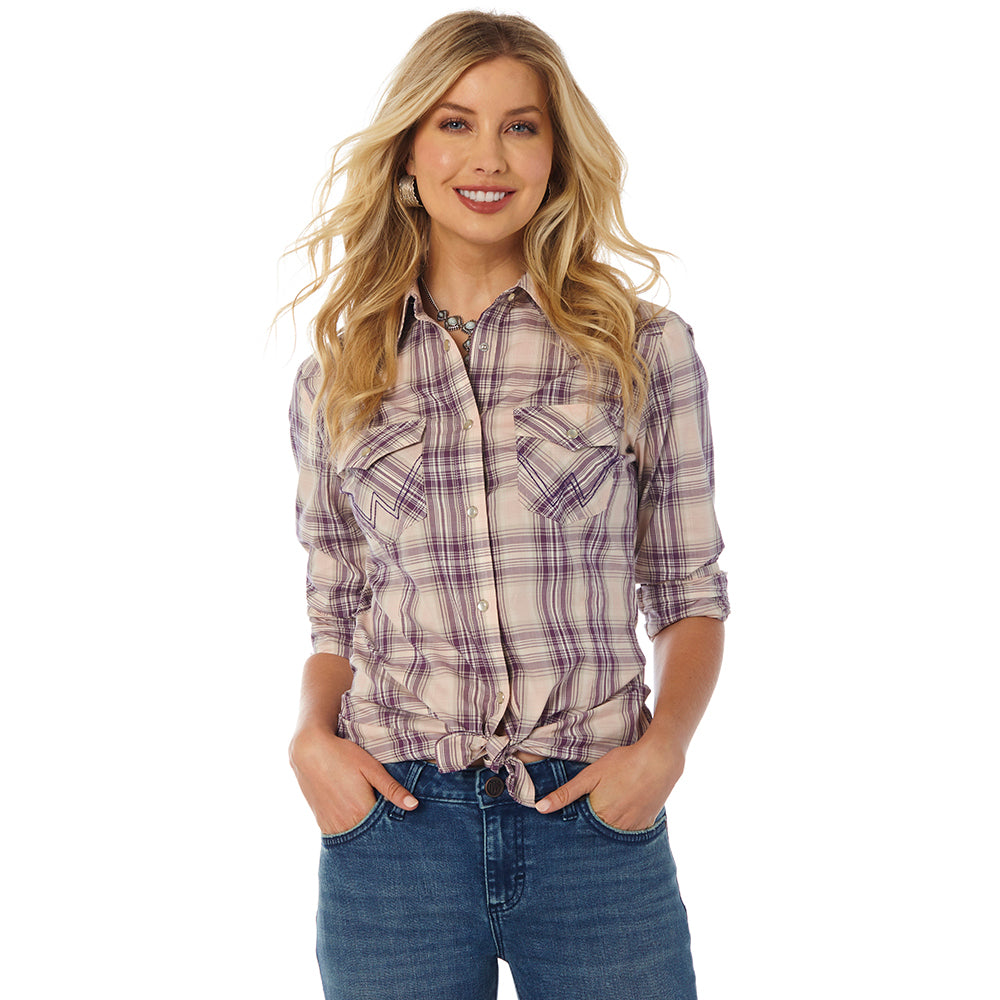 LW7513M Women's Wrangler Plaid Long Sleeve Western Shirt