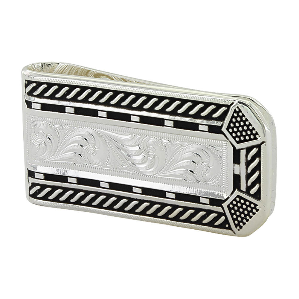 MCL3484 Montana Silversmiths Roped Horseshoe Nail Head Money Clip