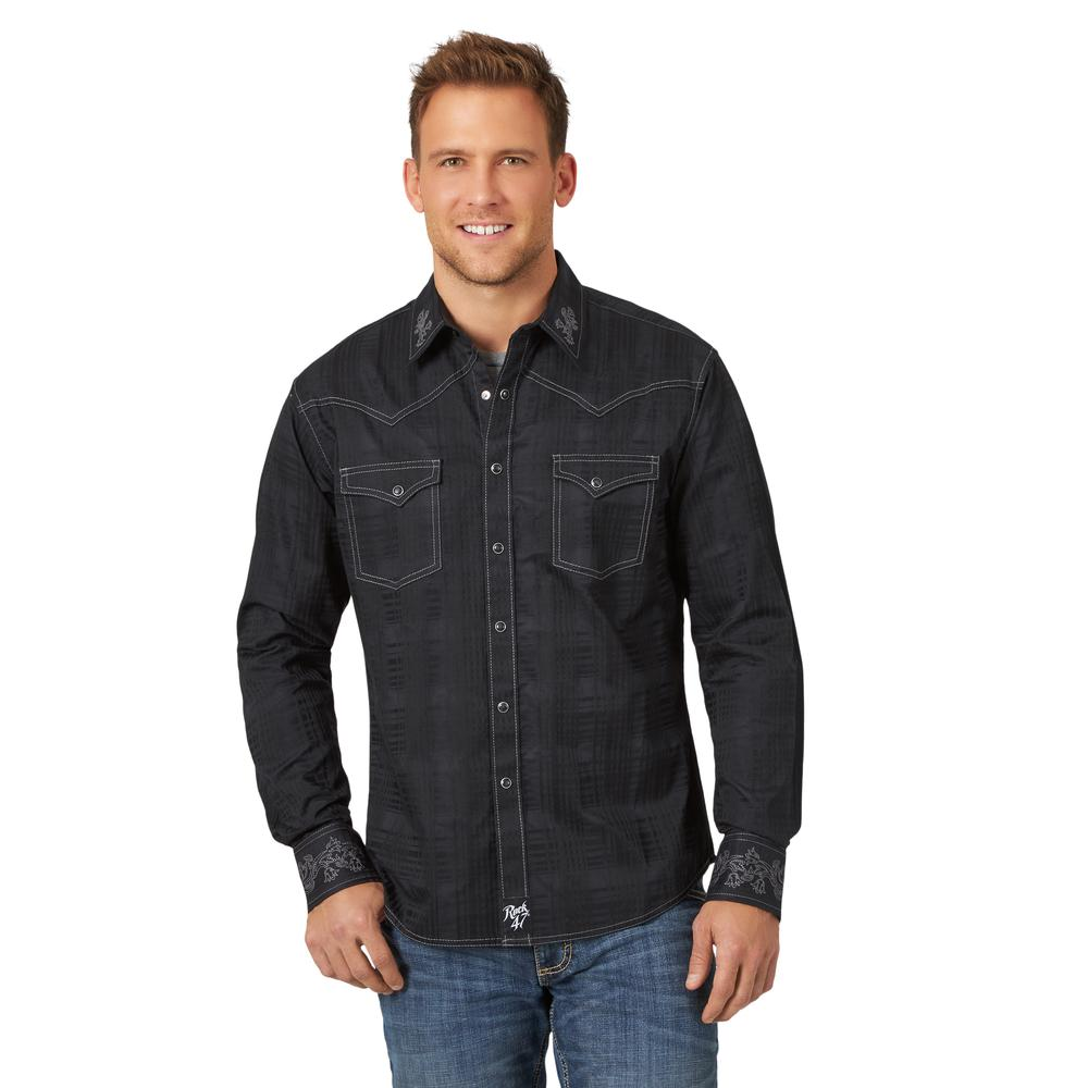 MRC397X Men's Wrangler Rock 47 Black with Grey Embroidery Long Sleeve Western Shirt