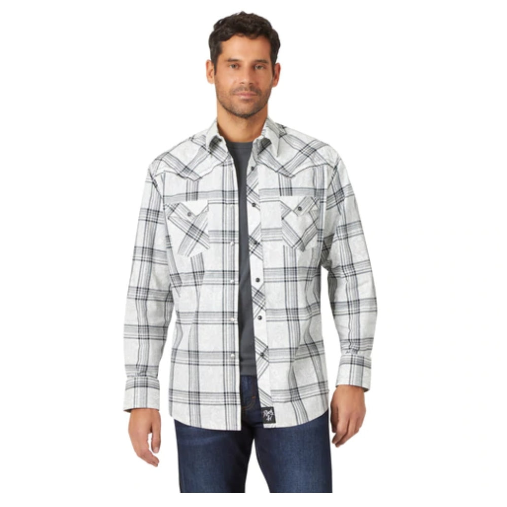MRC400W Wrangler Rock 47 Men's White with Grey Paisley and Black Plaid Embroidered Long Sleeve Western Shirt