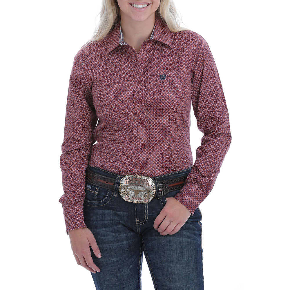 MSW9164147 Cinch Women's Burgundy Print Button Down Long Sleeve Western Shirt