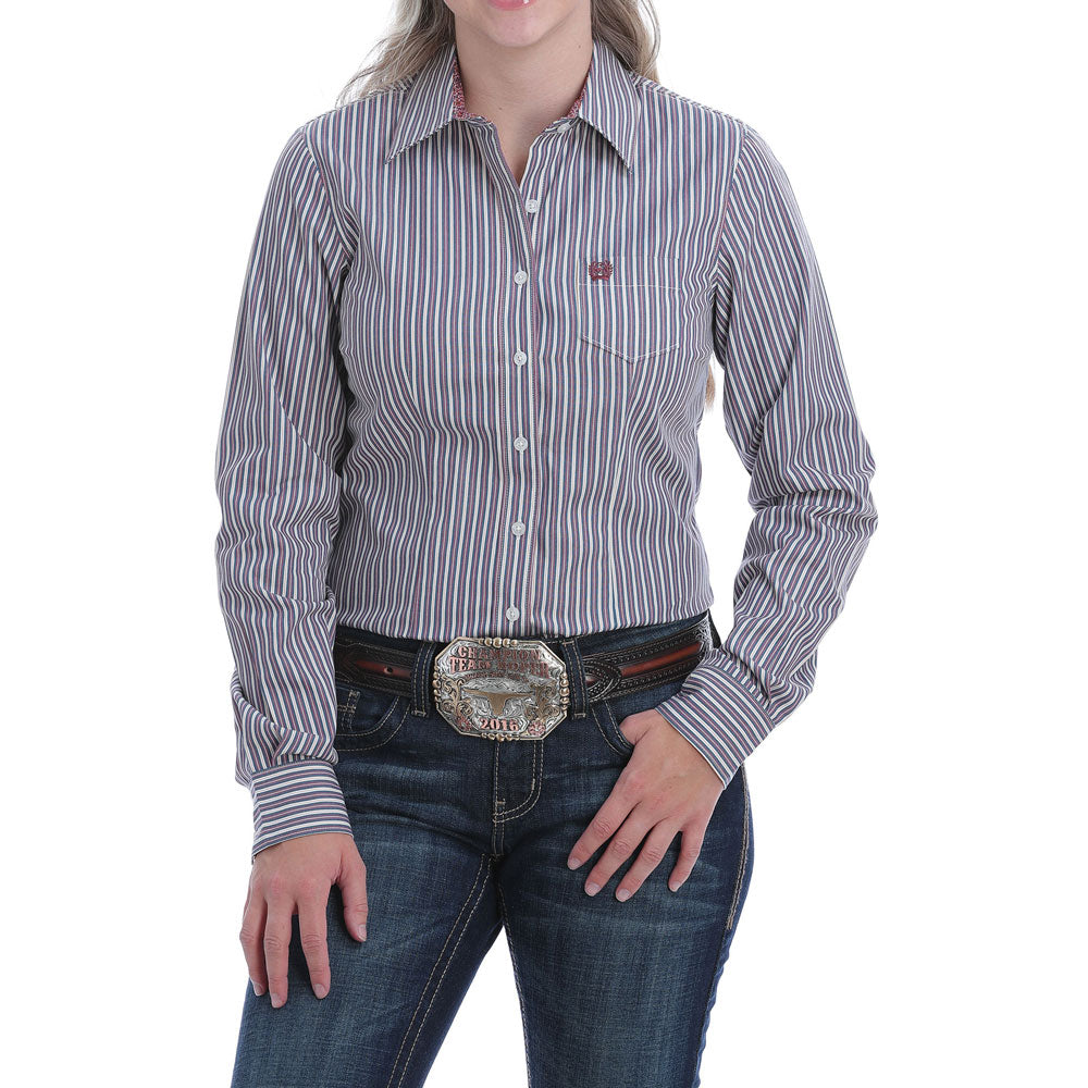 MSW9164149 Cinch Women's Blue Stripe Button Down Long Sleeve Western Shirt