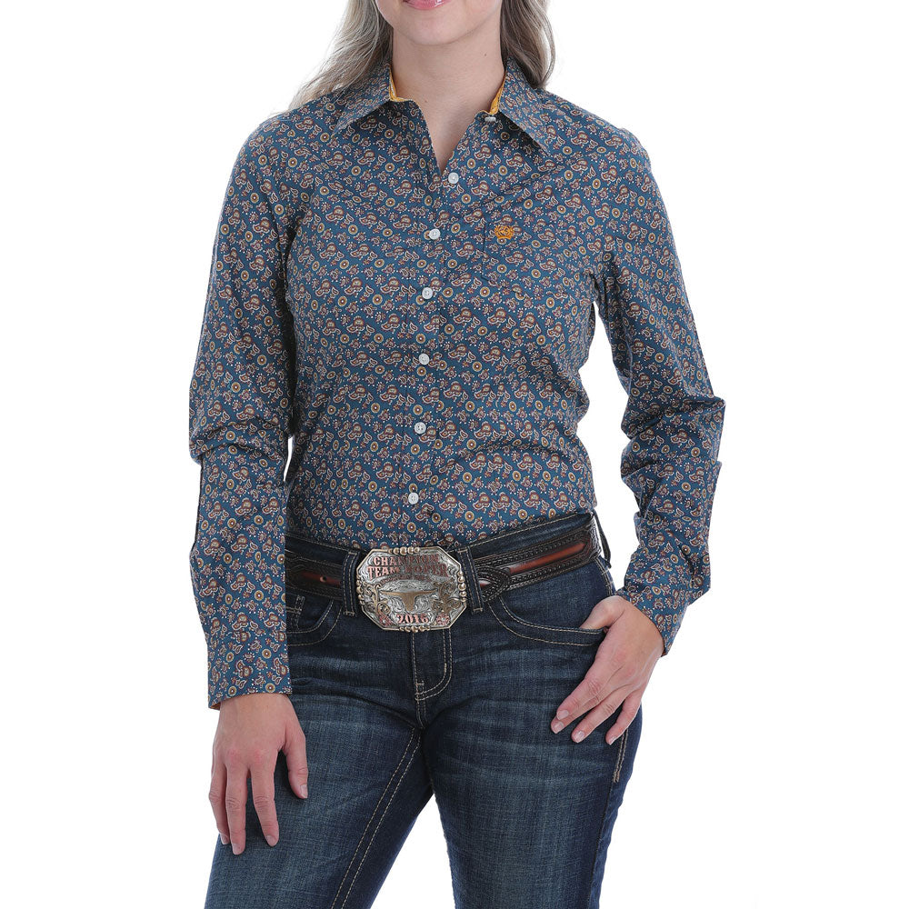 MSW9164150 Cinch Women's Long Sleeve Button Down Western Shirt Blue Paisley