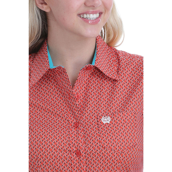 MSW9164151 Cinch Orange Print Long Sleeve Women's Shirt