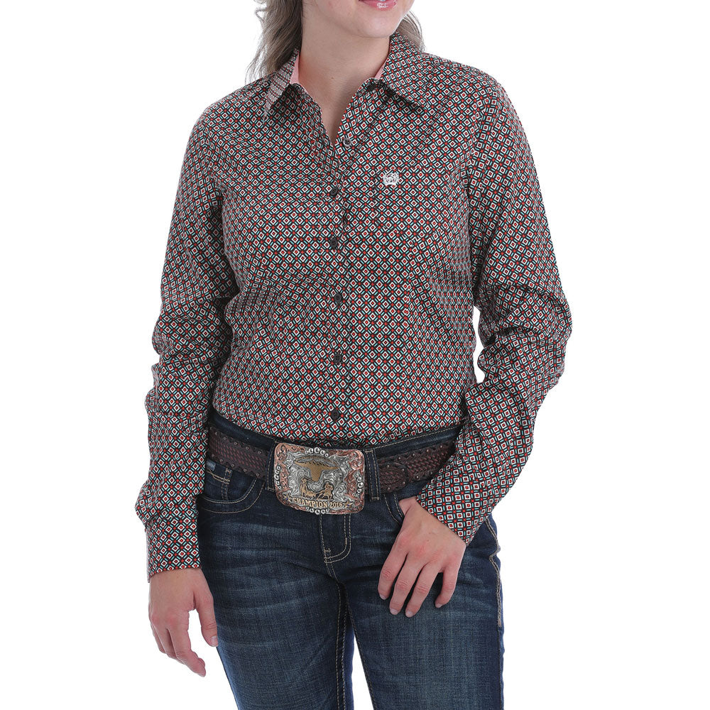 MSW9164152 Cinch Women's Brown Geo Print Western Shirt
