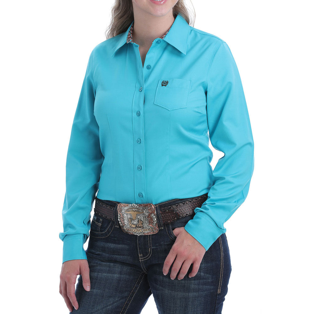 MSW9164153 Cinch Women's Solid Turquoise Long Sleeve Western Shirt.