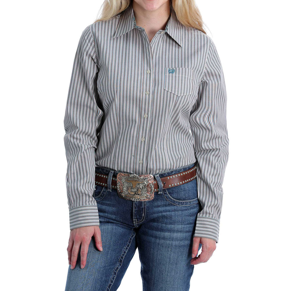 MSW9164162 Cinch Women's Turquoise & White Stripe Buttondown Long Sleeve Western Shirt