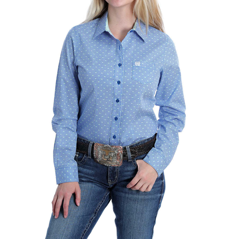 MSW9164164 Cinch Women's Blue Dot Print Button Front Long Sleeve Western Shirt