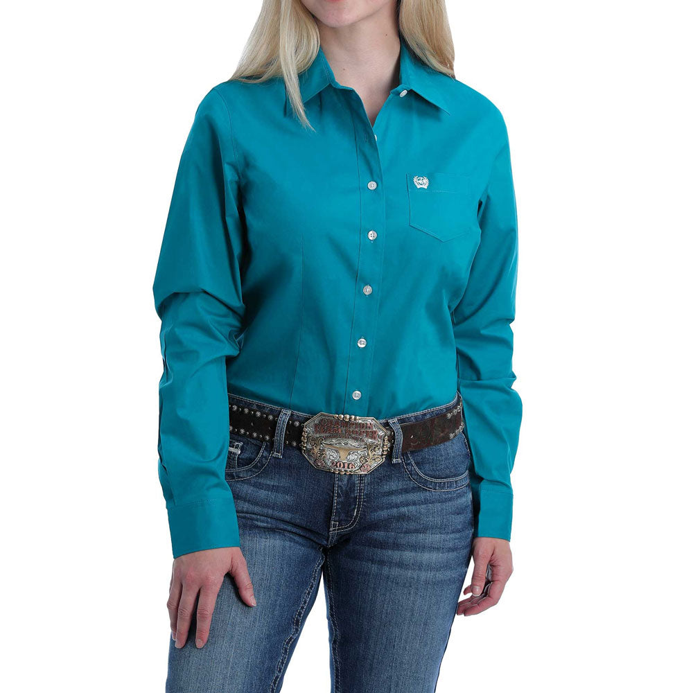 MSW9164167 Cinch Women's Solid Teal Long Sleeve Button Down Western Shirt
