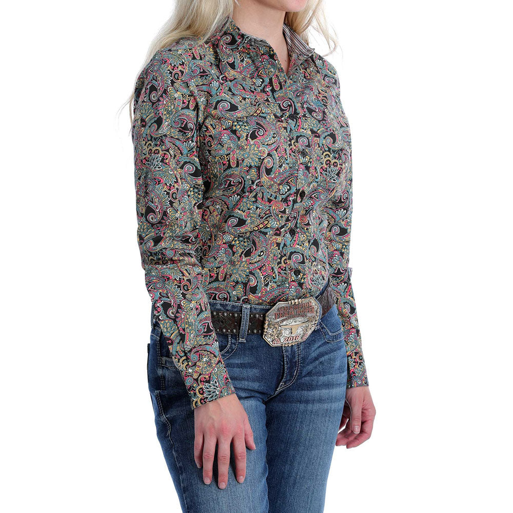 MSW9165003 Cinch Women's Black & Gold Paisley Long Sleeve Western Shirt