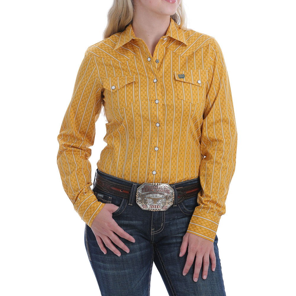 MSW9201014 Cinch Women's Mustard Stripe Long Sleeve Western Snap Shirt