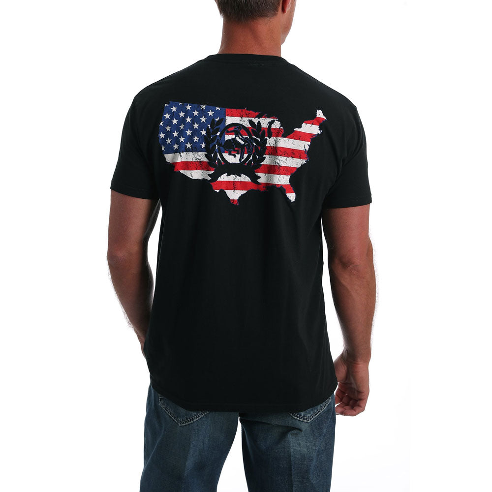 MTT1690400 Cinch Men's Black Logo Flag Tee