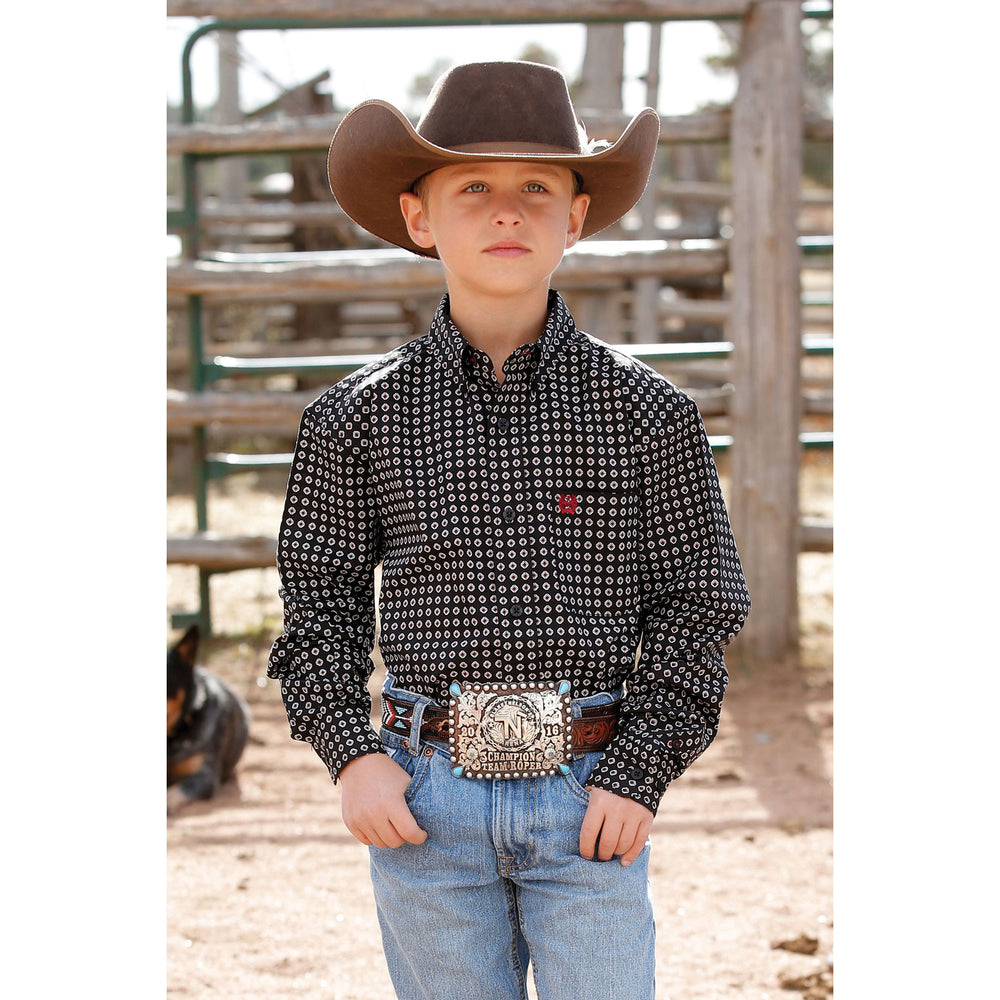 MTW7060240 Cinch Boys Black Print Long Sleeve Western Shirt