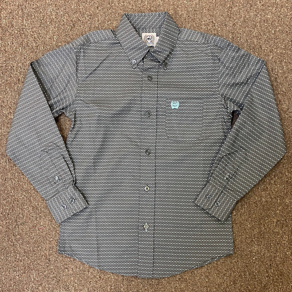 MTW7060251 Cinch Boys Long Sleeve Grey & Mint Print Button Down Shirt