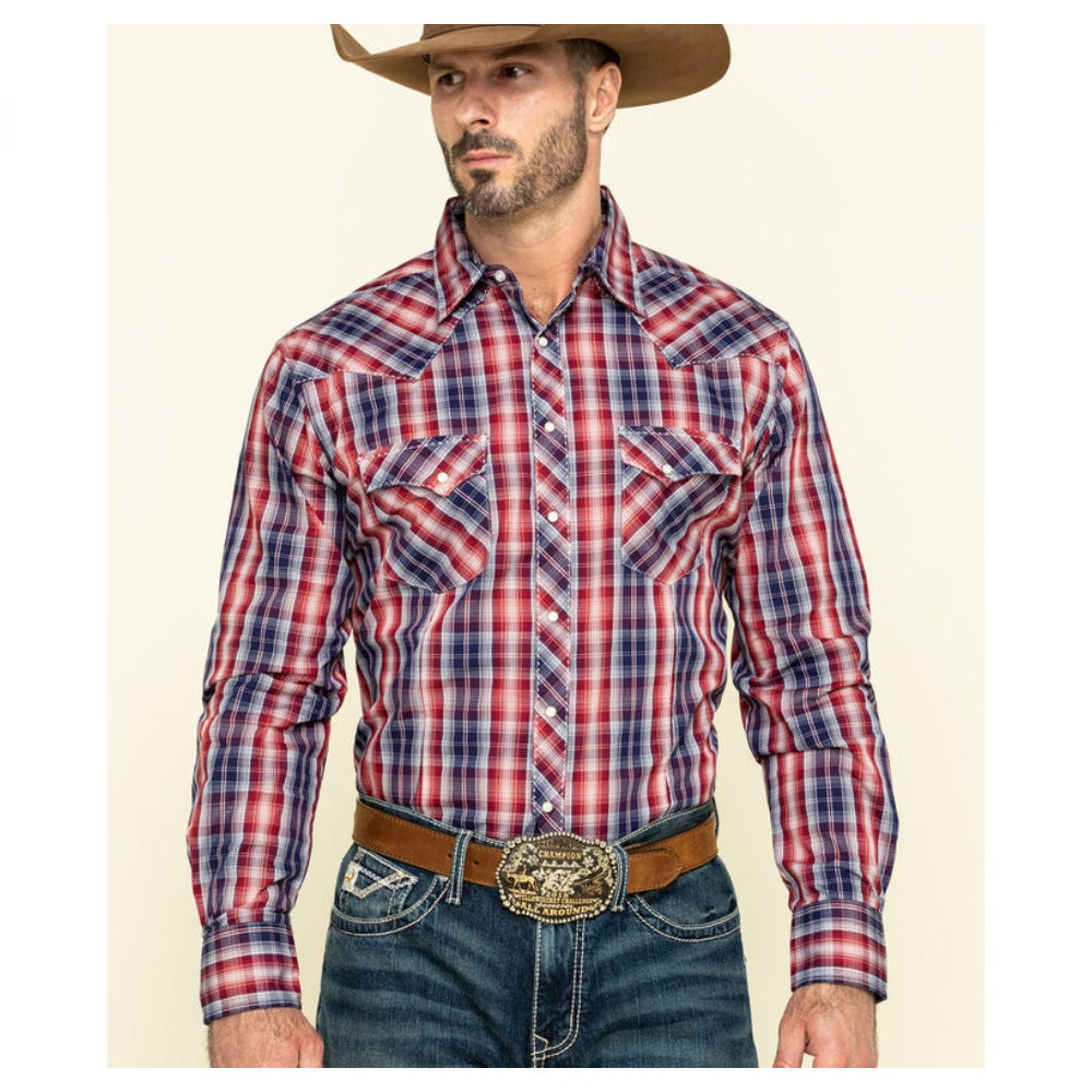 MVG295R Men's Wrangler Red and Navy Plaid Long Sleeve Western Shirt
